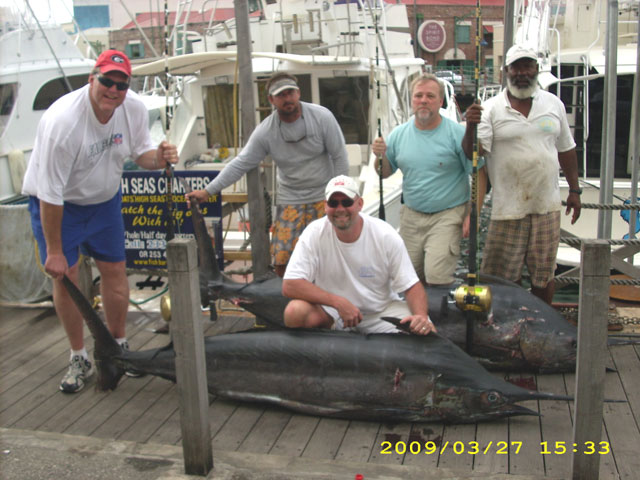 Blue Marlin charter fishing action.