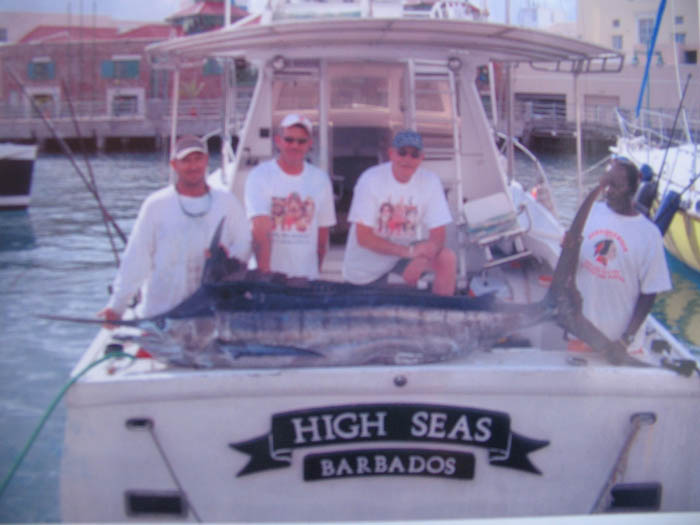Blue Marlin on board High Seas in Bridgetown Barbados. This is charter fishing in Barbados.